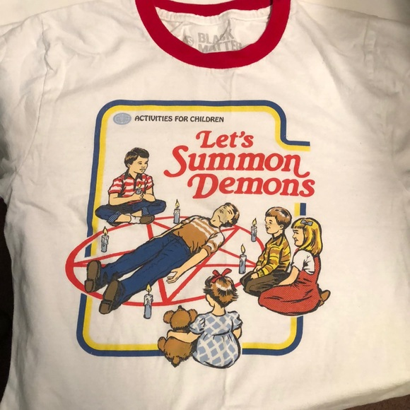 Funny Let's summon demons tee -XS